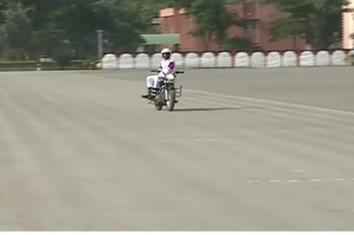 BSF biker creates world record by side-riding for over three hours
