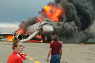 Watch: Co-pilot rescues his colleague from burning plane in Moscow