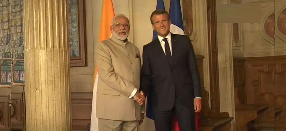 PM Narendra Modi meets France President Emmanuel Macron at Château de Chantilly
