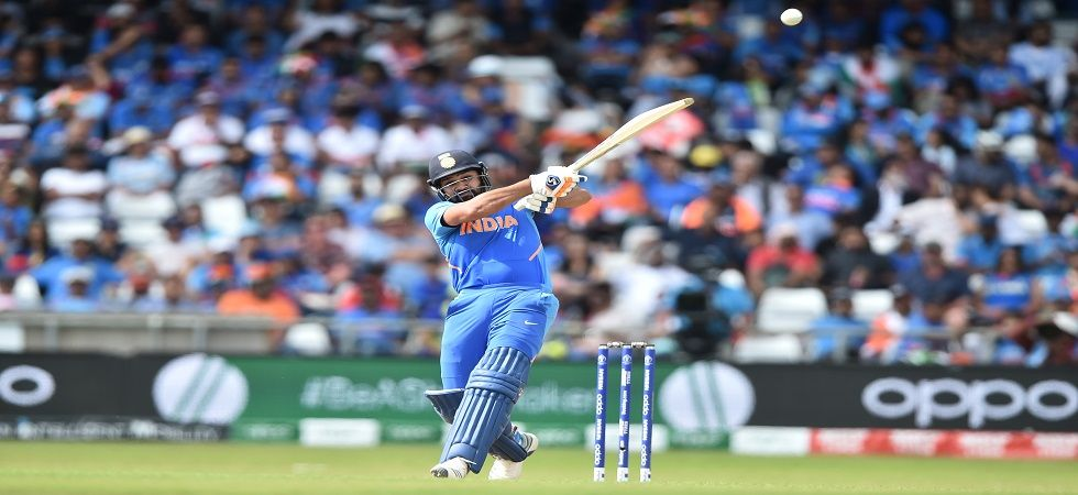 Rohit Sharma became the first person in World Cup history to blast five centuries in one edition, breaking Kumar Sangakkara's record and equalling Sachin Tendulkar's feat. (Image credit: Getty Images)