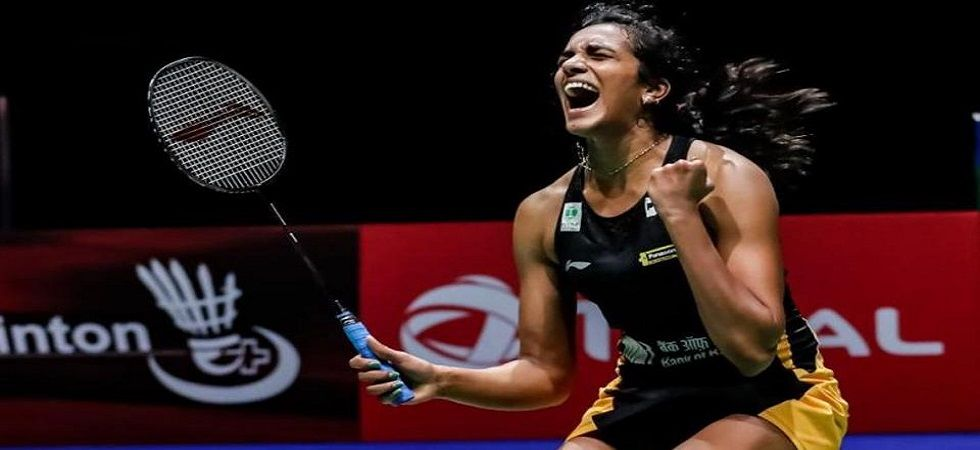 PV Sindhu became the first Indian to win the World Badminton Championship as she defeated Nozomi Okuhara 21-7,21-7 in the final of the World Badminton Championship in Basel. (Image credit: Twitter)